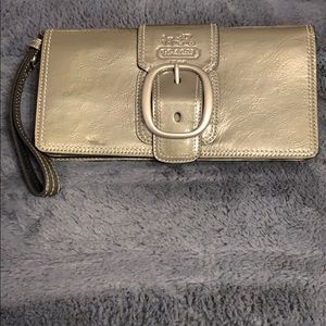Coach pewter patent leather wristlet